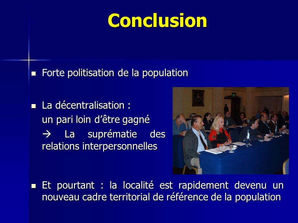 Conclusion Forte politisation de la population La décentralisation :