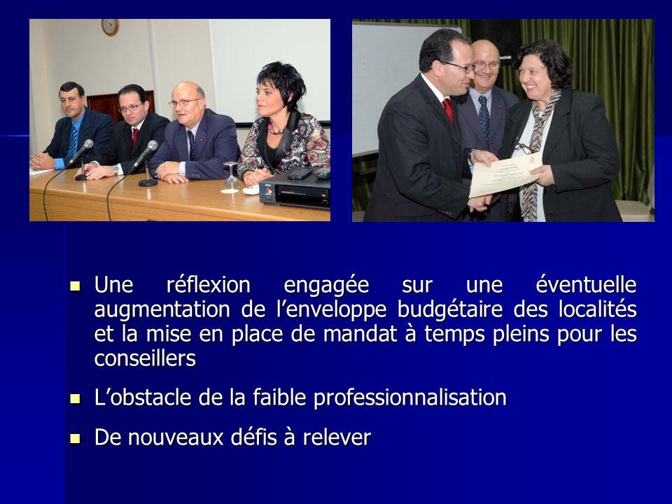 Une réflexion engagée sur une éventuelle augmentation de l'enveloppe budgétaire des localités et la mise en place de mandat à temps pleins pour les conseillers
