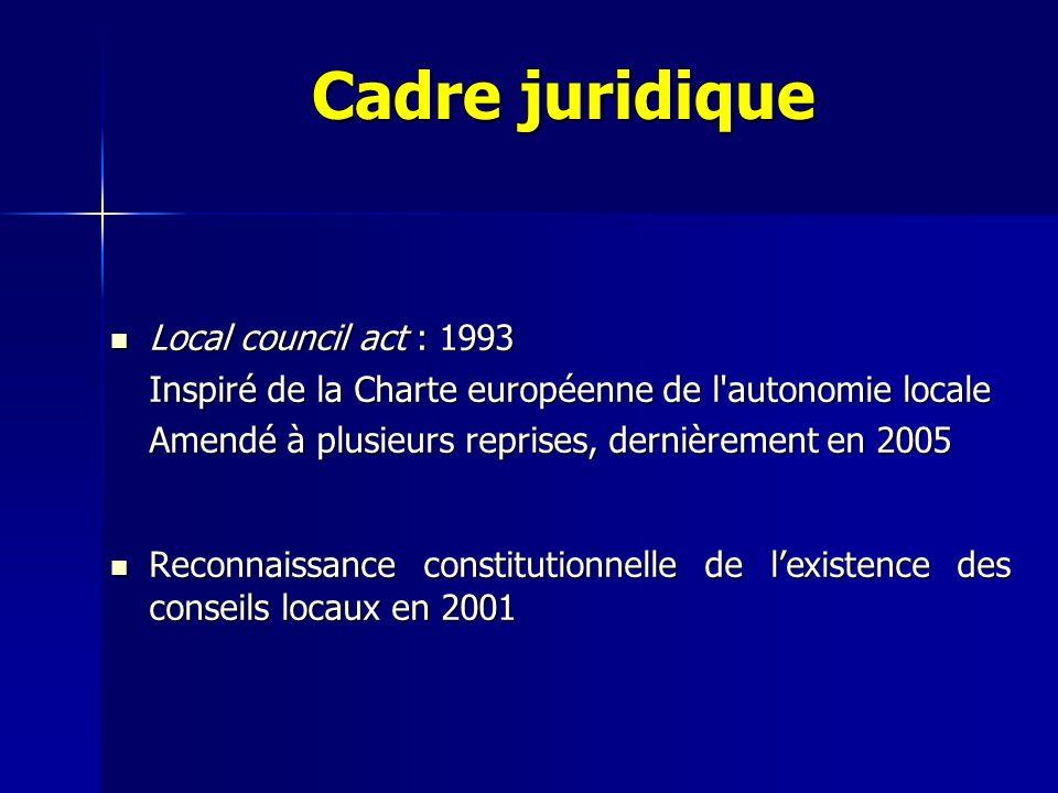 Cadre juridique Local council act : 1993