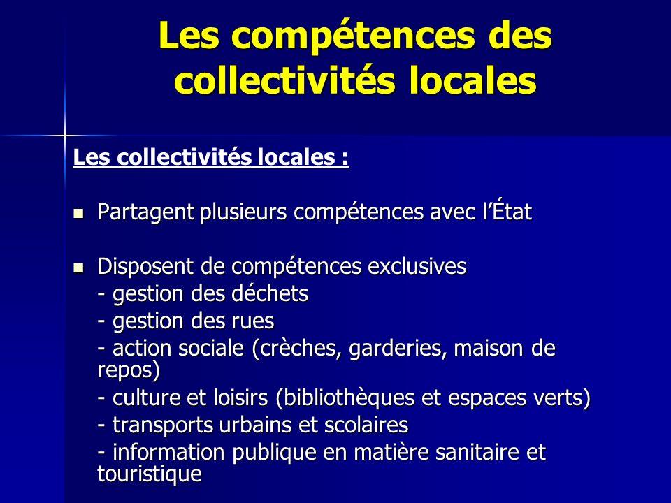 Les compétences des collectivités locales