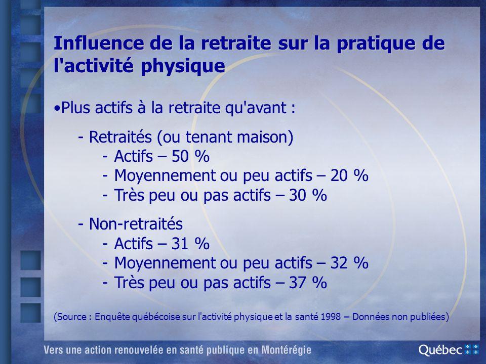 Influence de la retraite sur la pratique de l activité physique