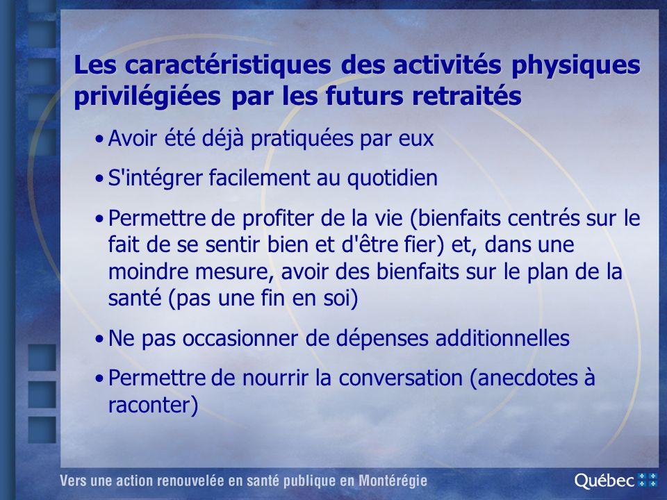 Les caractéristiques des activités physiques privilégiées par les futurs retraités