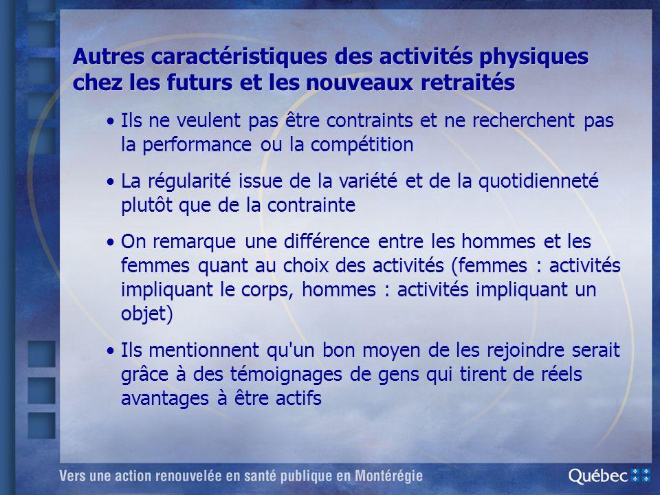 Autres caractéristiques des activités physiques chez les futurs et les nouveaux retraités
