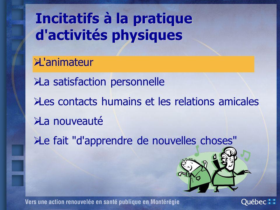 Incitatifs à la pratique d activités physiques