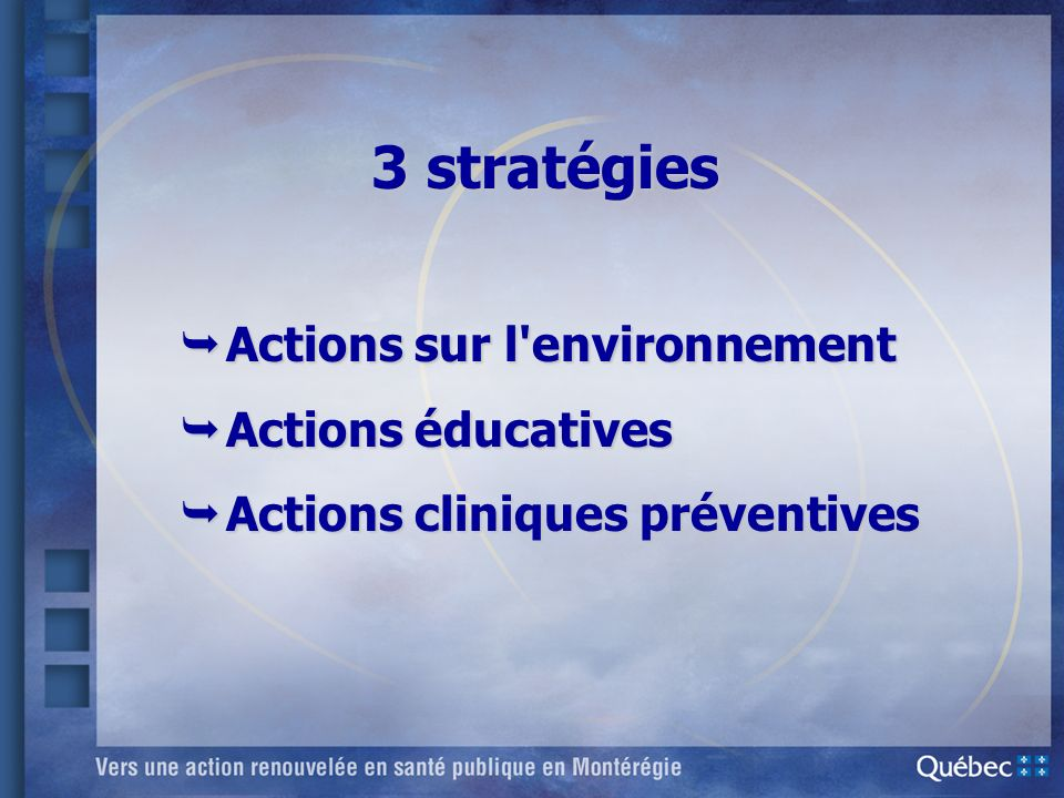 3 stratégies Actions sur l environnement Actions éducatives