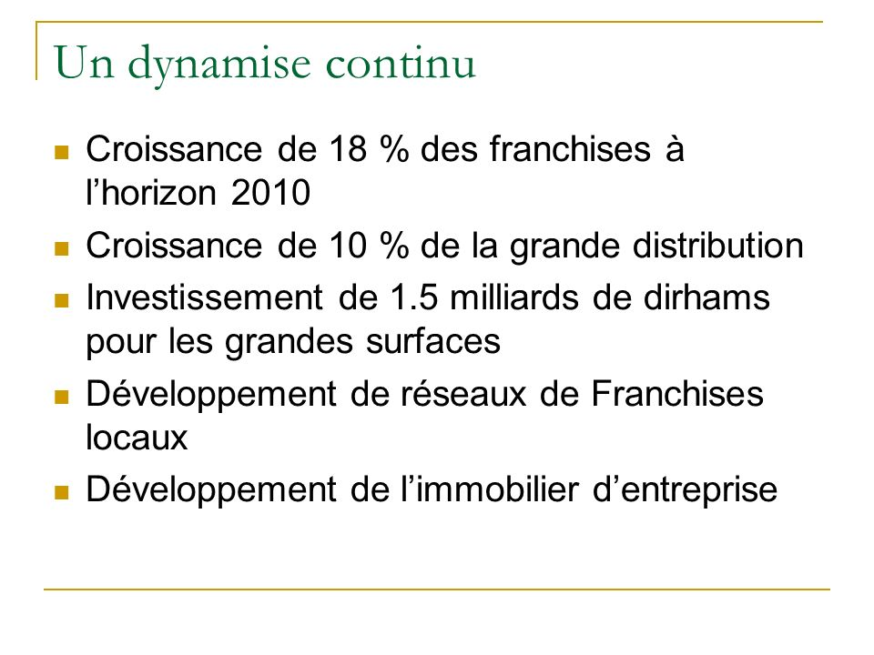Un dynamise continu Croissance de 18 % des franchises à l'horizon 2010