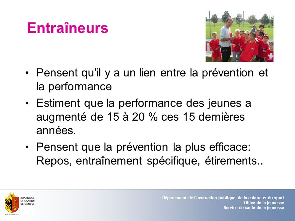 Entraîneurs Pensent qu il y a un lien entre la prévention et la performance.