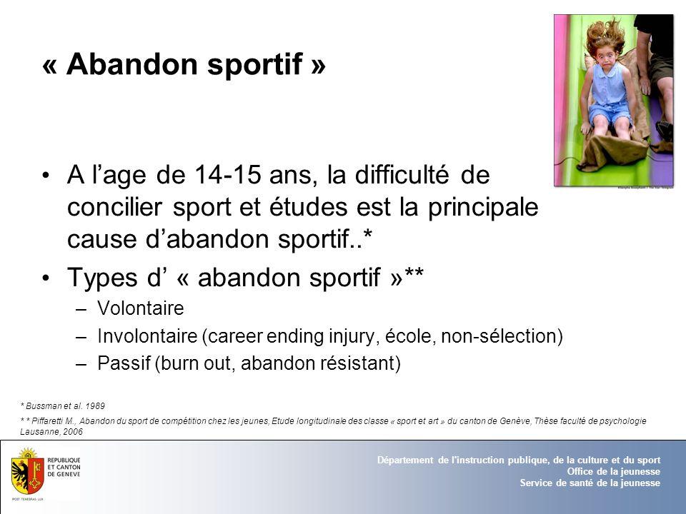 « Abandon sportif »A l'age de 14-15 ans, la difficulté de concilier sport et études est la principale cause d'abandon sportif..*