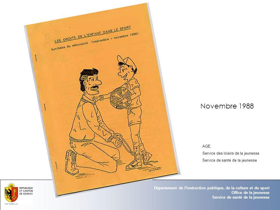 Novembre 1988 AGE Service des loisirs de la jeunesse