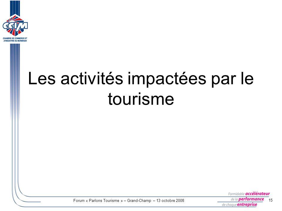 Les activités impactées par le tourisme