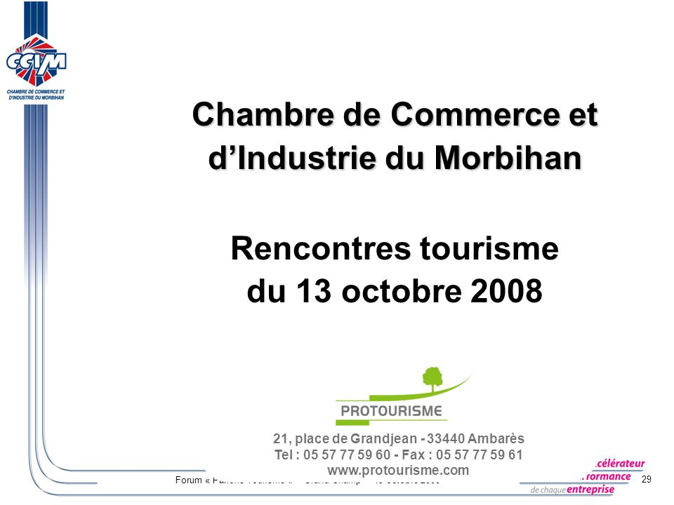 Profils et tendance du tourisme dans le morbihan ppt for Chambre de commerce et d industrie du mali