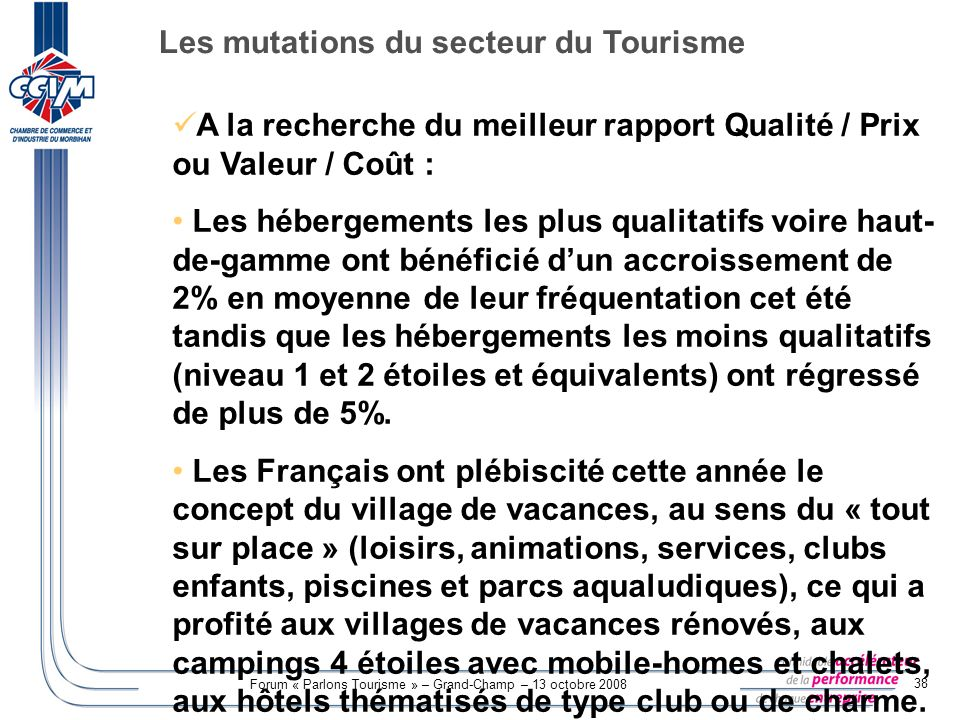 Les mutations du secteur du Tourisme