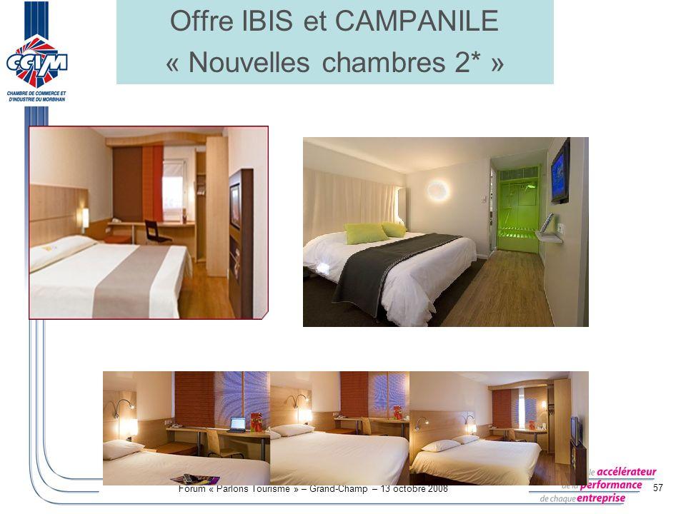 Offre IBIS et CAMPANILE « Nouvelles chambres 2* »
