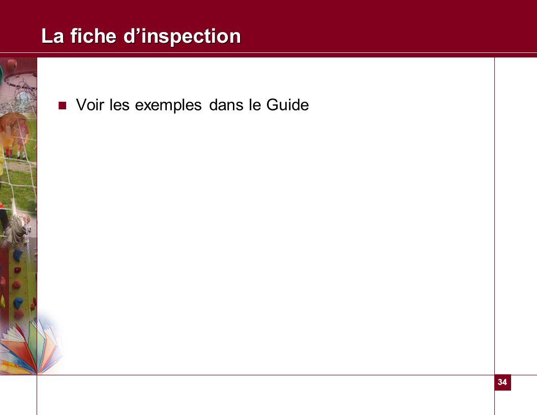La fiche d'inspection Voir les exemples dans le Guide
