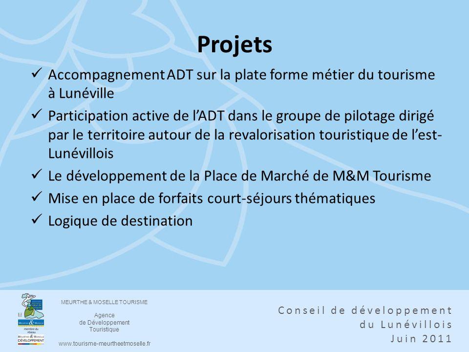 Projets Accompagnement ADT sur la plate forme métier du tourisme à Lunéville.