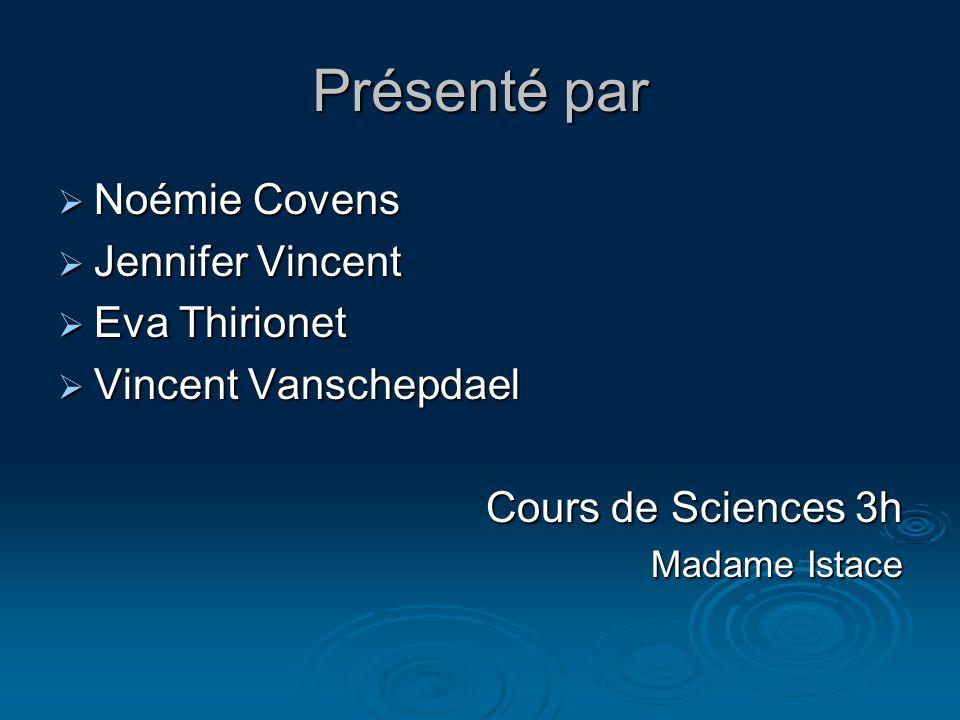 Présenté par Noémie Covens Jennifer Vincent Eva Thirionet