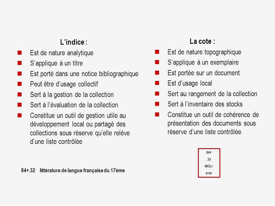 L'indice : La cote : Est de nature analytique