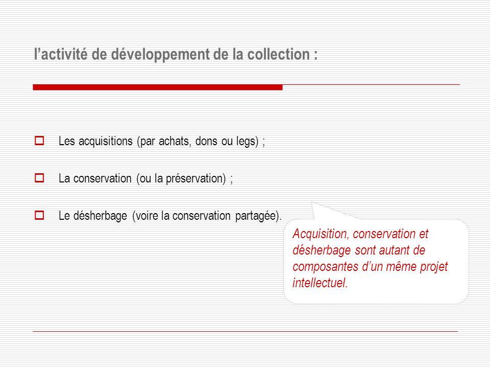 l'activité de développement de la collection :