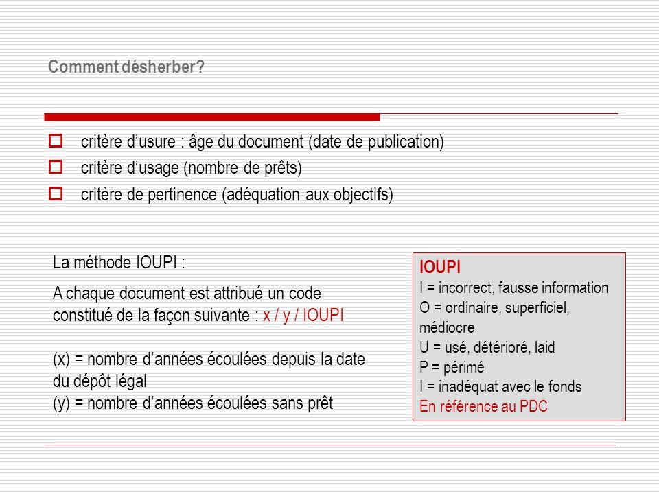 critère d'usure : âge du document (date de publication)