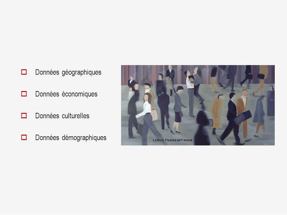 Données géographiques Données économiques Données culturelles
