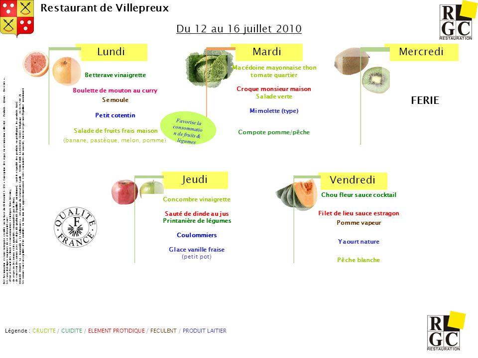 Du 12 au 16 juillet 2010 Macédoine mayonnaise thon tomate quartier. Croque monsieur maison. Salade verte.