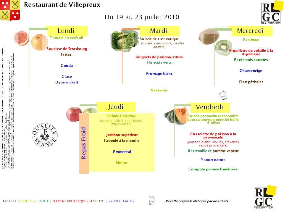 Du 19 au 23 juillet 2010 Repas Froid Tomate au cerfeuil