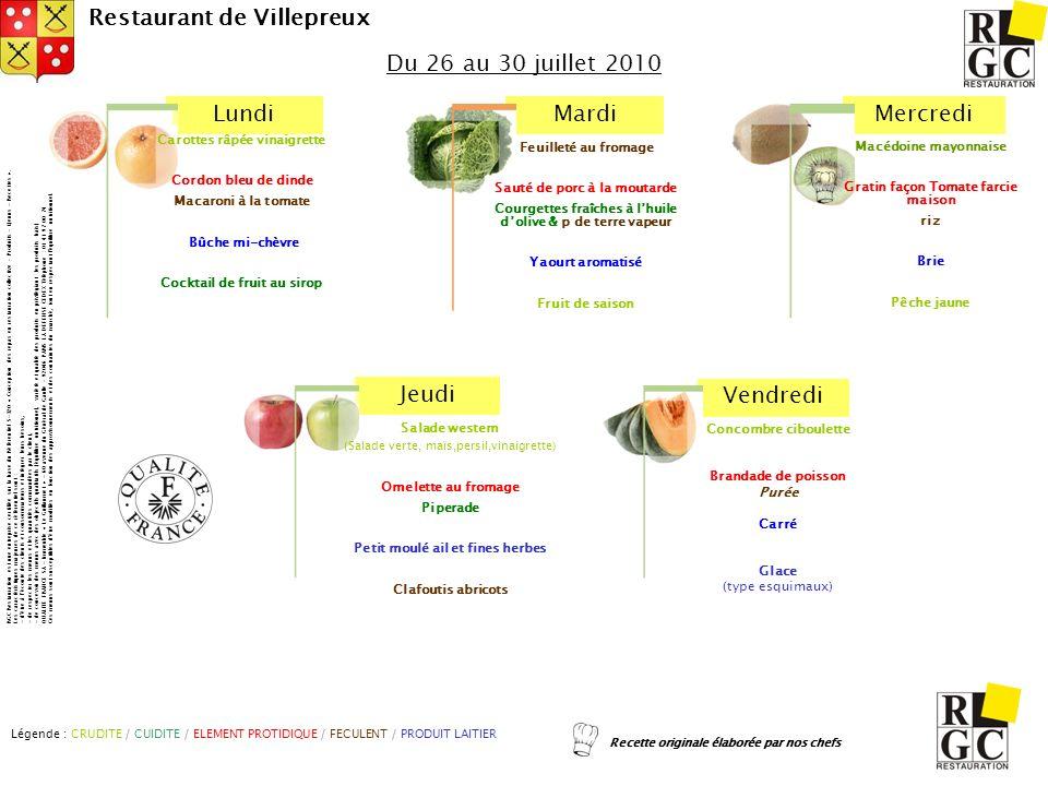 Du 26 au 30 juillet 2010 Carottes râpée vinaigrette