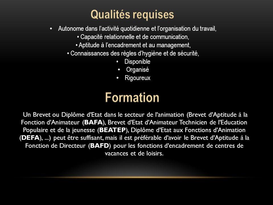 Formation Qualités requises