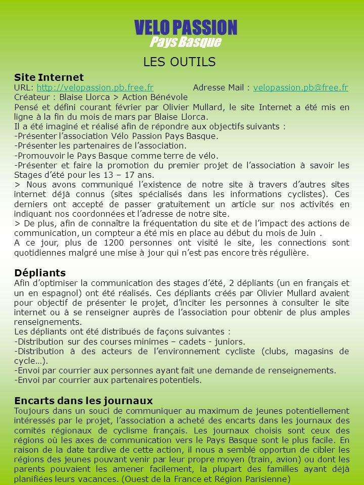 VELO PASSION Pays Basque LES OUTILS Site Internet Dépliants