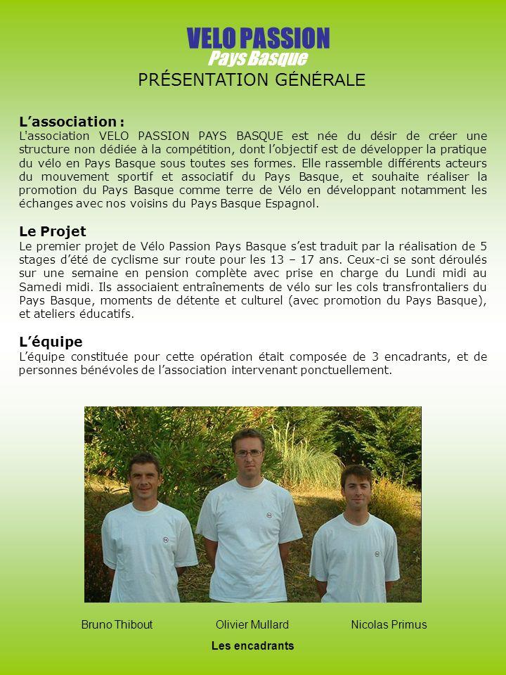 VELO PASSION Pays Basque PRÉSENTATION GÉNÉRALE L'association :