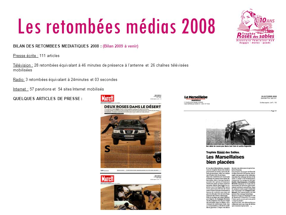 Les retombées médias 2008 BILAN DES RETOMBEES MEDIATIQUES 2008 : (Bilan 2009 à venir) Presse écrite : 111 articles.