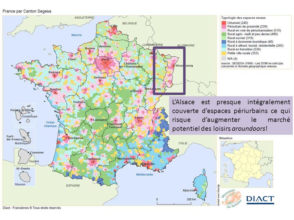 L'Alsace est presque intégralement couverte d'espaces périurbains ce qui risque d'augmenter le marché potentiel des loisirs aroundoors!
