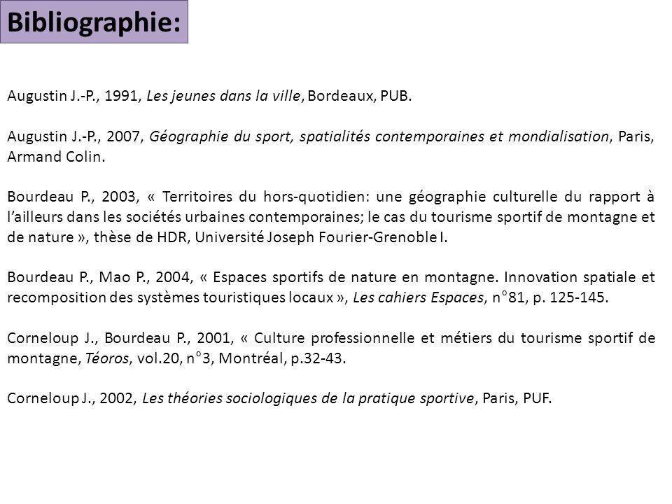 Bibliographie: Augustin J.-P., 1991, Les jeunes dans la ville, Bordeaux, PUB.