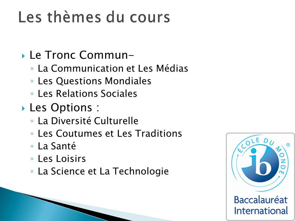 Les thèmes du cours Le Tronc Commun- Les Options :