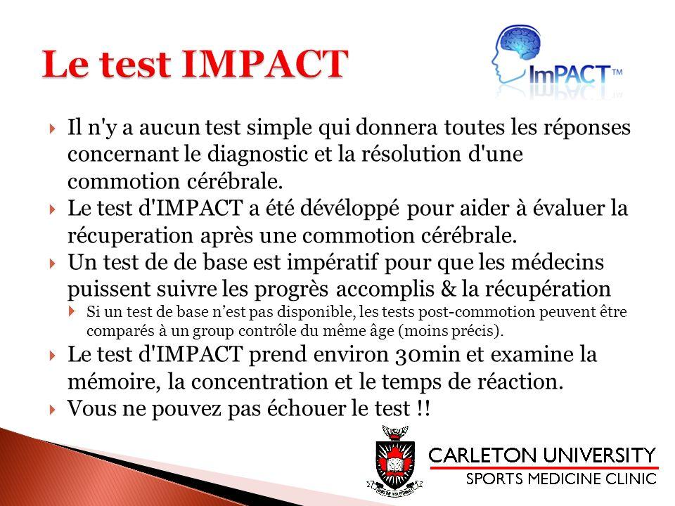 Le test IMPACT Il n y a aucun test simple qui donnera toutes les réponses concernant le diagnostic et la résolution d une commotion cérébrale.