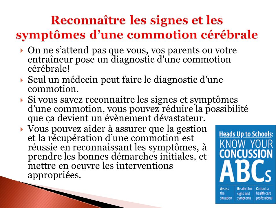 Reconnaître les signes et les symptômes d'une commotion cérébrale