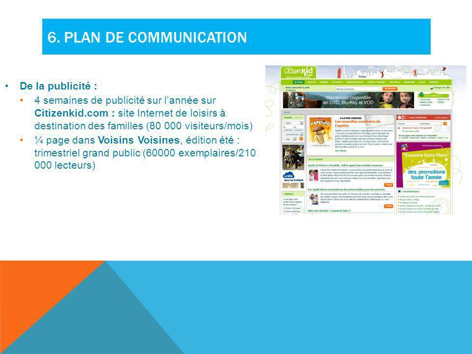 6. Plan de communication De la publicité :
