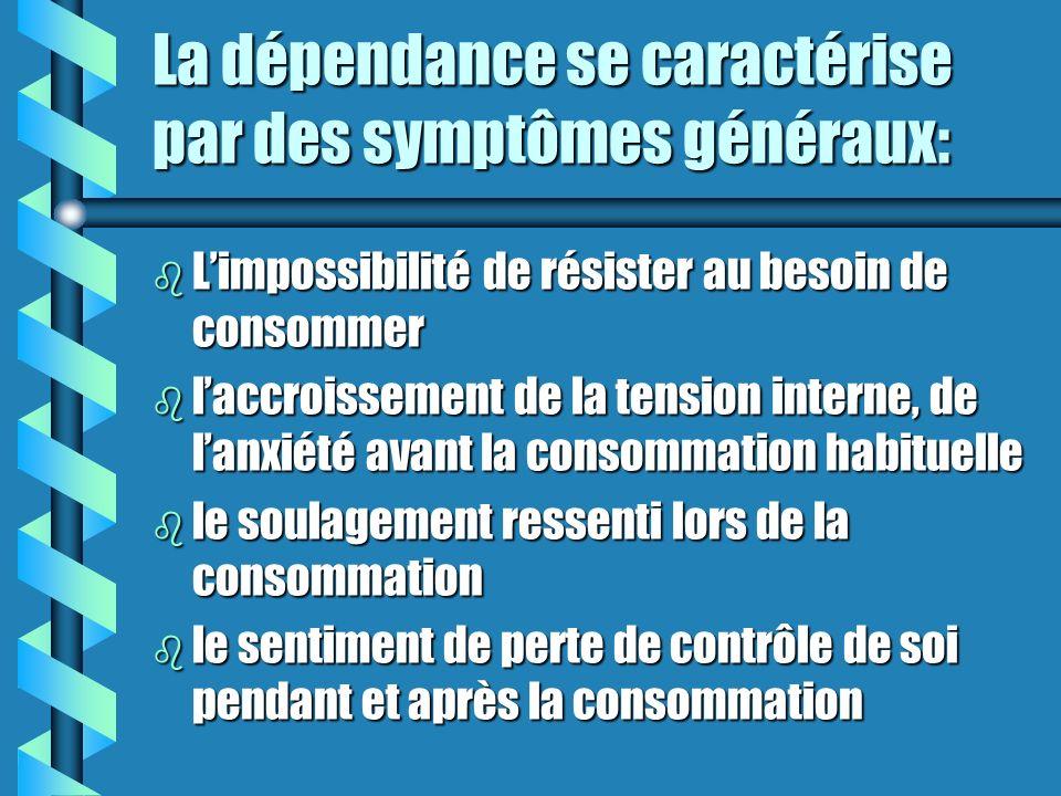 La dépendance se caractérise par des symptômes généraux: