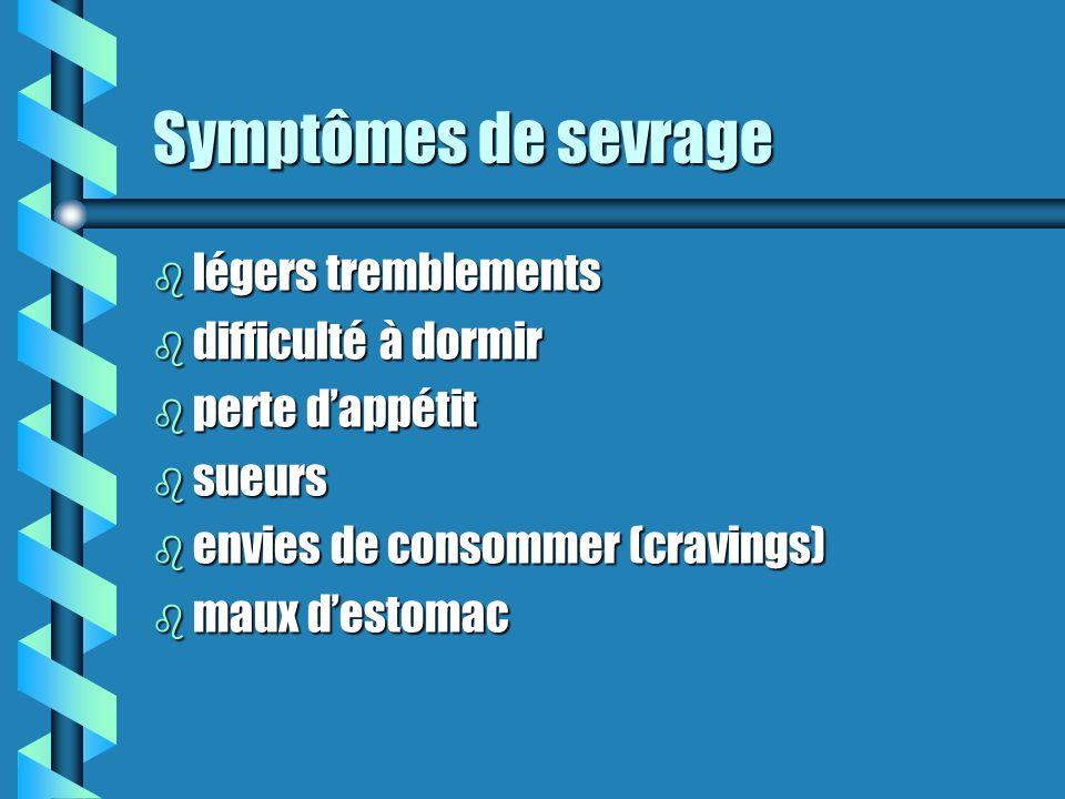Symptômes de sevrage légers tremblements difficulté à dormir