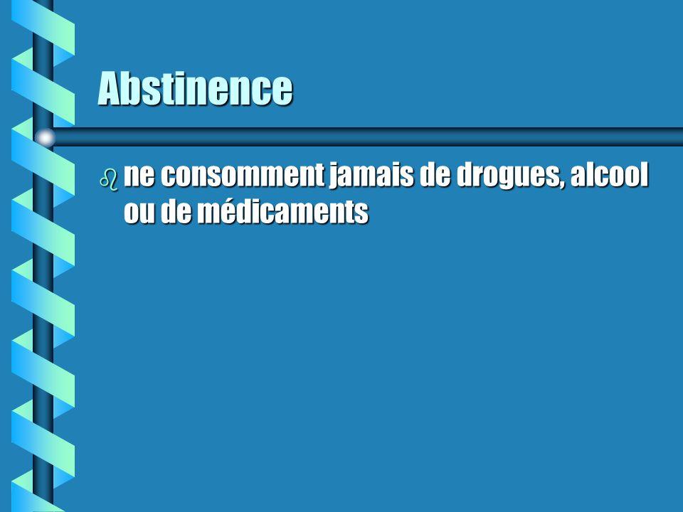 Abstinence ne consomment jamais de drogues, alcool ou de médicaments
