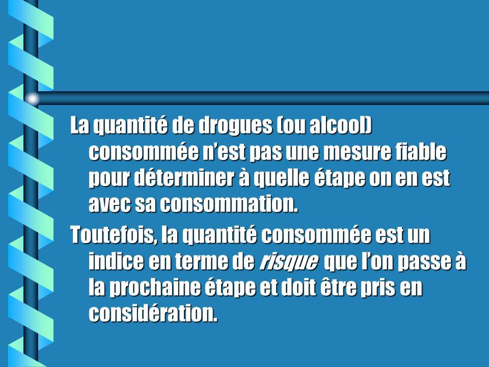 La quantité de drogues (ou alcool) consommée n'est pas une mesure fiable pour déterminer à quelle étape on en est avec sa consommation.
