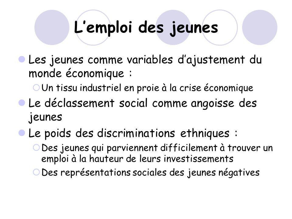 L'emploi des jeunes Les jeunes comme variables d'ajustement du monde économique : Un tissu industriel en proie à la crise économique.