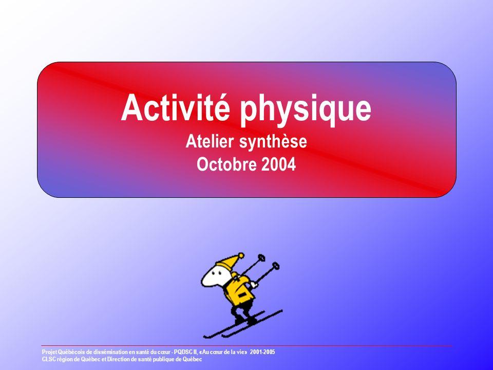 Activité physique Atelier synthèse Octobre 2004