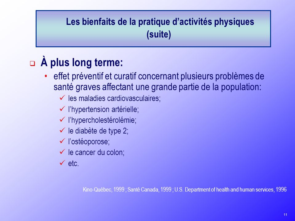 Les bienfaits de la pratique d'activités physiques (suite)