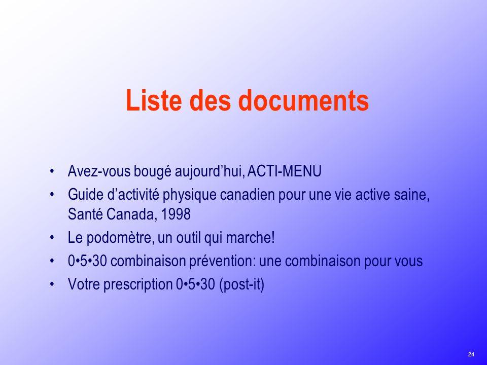 Liste des documents Avez-vous bougé aujourd'hui, ACTI-MENU