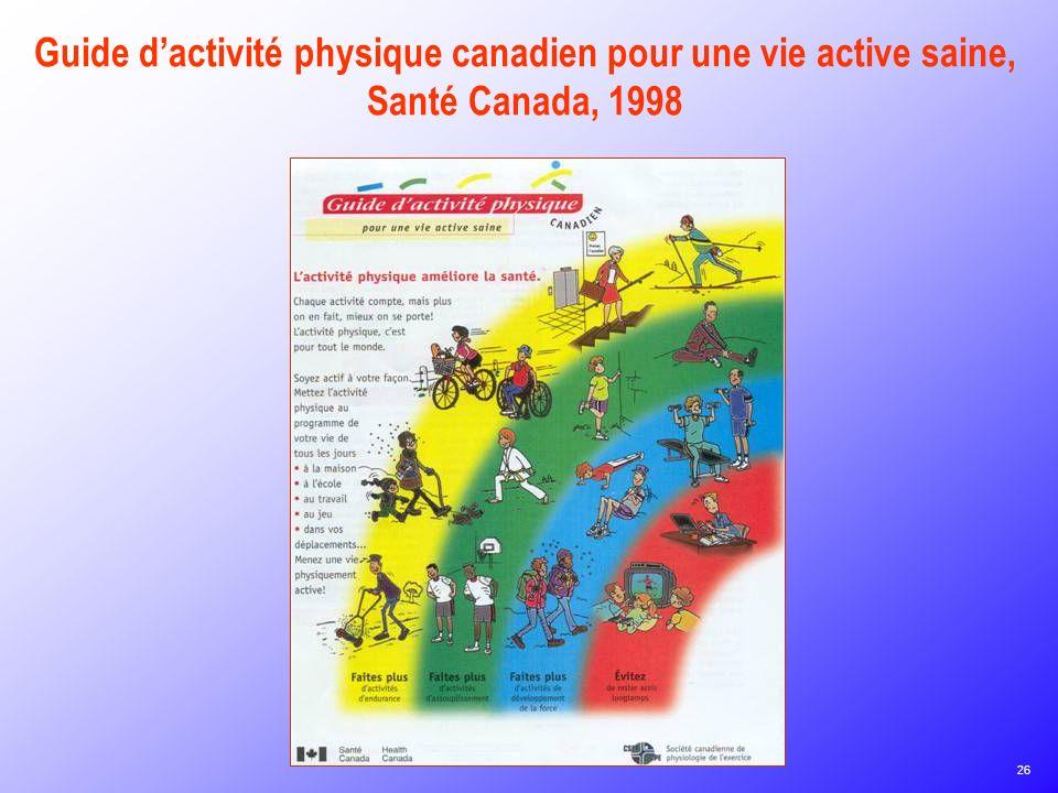 Guide d'activité physique canadien pour une vie active saine, Santé Canada, 1998