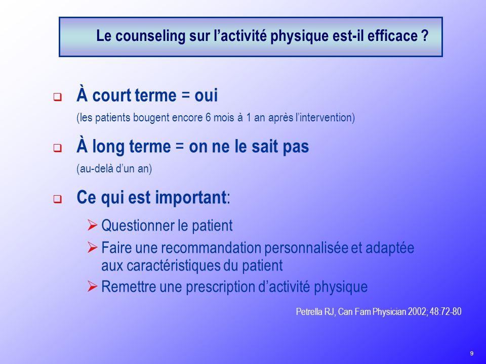 Le counseling sur l'activité physique est-il efficace