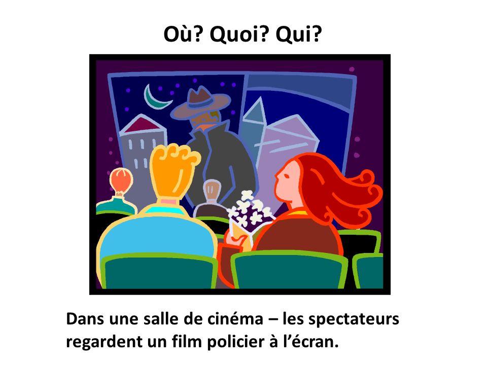 Où Quoi Qui Dans une salle de cinéma – les spectateurs regardent un film policier à l'écran.