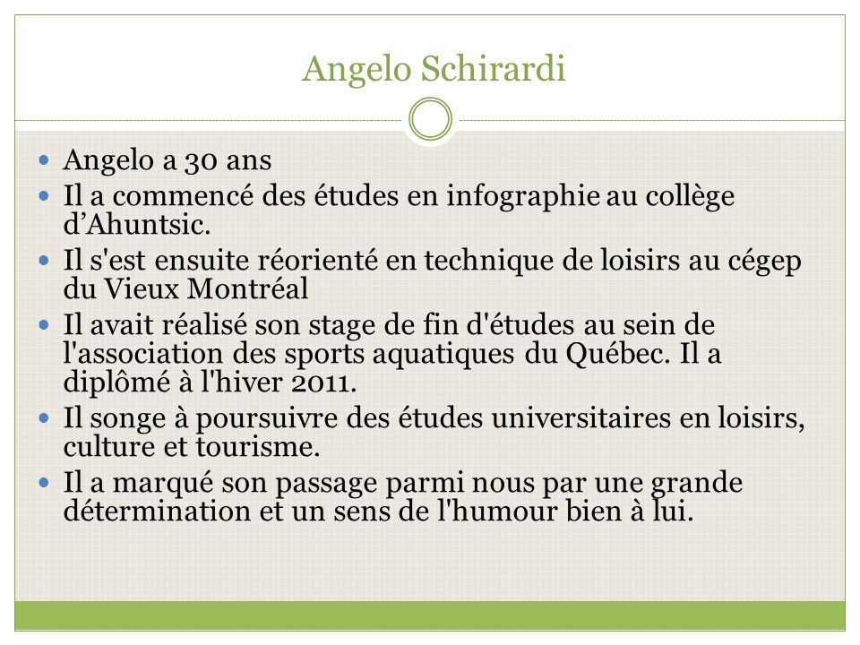 Angelo Schirardi Angelo a 30 ans