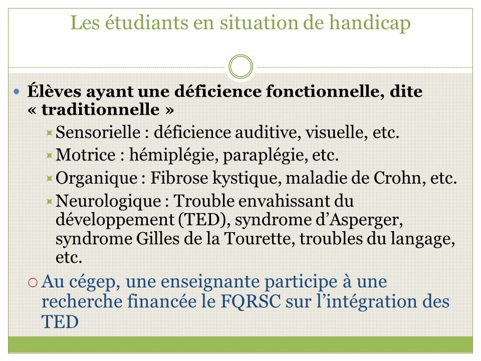 Les étudiants en situation de handicap